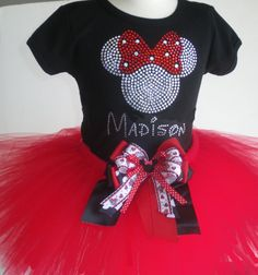 18 mos Personalized Disney red Minnie Mouse costume tutu and rhinestone t-shirt dress on Etsy, $67.75