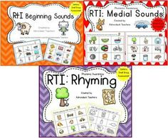 We have decided to BUNDLE our Interactive RTI: Phonemic Awareness Products: Beginning Sounds, Rhyming and Medial Sounds. ***We are in the process of making more Phonemic Awareness Products ( Ending Sounds, Digraphs, Blends, etc) so this product BUNDLE will have new products added to it with time at no additional cost to you!*** We made these products to help our RtI kiddos who need simple one concept activities to be successful with sound identification.