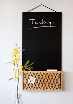 A blackboard with a solid oak unit, handmade embroidered. Special application with black flexible thread to create a decorative and practical feature. The blackboard can be used with chalks, and the wood unit for attaching notes, photos, cards etc. Hanging Chalkboard, Kitchen Chalkboard, Photo Boards, Blackboards, Solid Oak, Paper Goods, Messages, Cool Stuff, Handmade Gifts