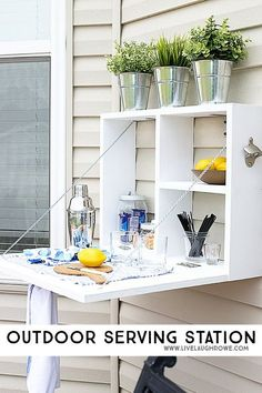 DIY outdoor serving station - perfect for summer entertaining.