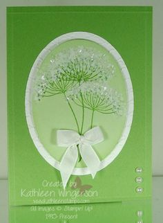 I wanted to make a card to resemble the Queen Ann's Lace wildflower. Uses Stampin' Up! Summer Silhouettes stamp set.