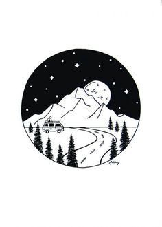 Mountains and Galaxy Scene, Outer Space Artwork, RV in the Mountains, Planets, – Art Sketches Space Drawings, Space Artwork, Sketchbook Drawings, Cool Art Drawings, Doodle Drawings, Easy Drawings, Doodle Art, Art Sketches, Drawing Ideas