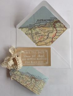 Travel themed save the dates. Blog shows you how to make them