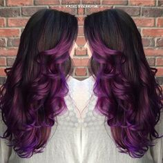 layered purple ombre hair
