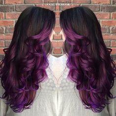 layered purple ombre hair Platinum Hair Color, Hair Color Purple, Cool Hair Color, Hair Colors, Black Hair Ombre, Dyed Hair Ombre, Black To Purple Ombre, Plum Purple, Dark Blue