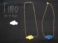 collier fimo nuages