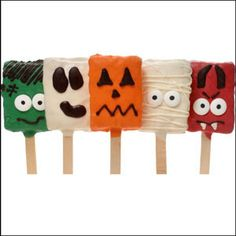 """Halloween Crispy Rice Bars are a perfect way to """"witch"""" them a Happy Halloween! This 5 piece set is hand-dipped in festive colored gourmet Confections, our Crispy Rice Bars are hand-decorated to look like your favorite Halloween Characters! Our Spooky Ghost, Silly Pumpkin, Cute Mummy, and Frankenstein are sure to please"""