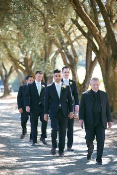 Groomsmen entrance/ Bonobos suits / Vineyard Vines ties/ navy and green/ Napa Valley wedding/ Photo  By Whitetail Weddings