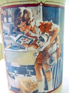 Watkins 1918 Almanac Coffee Mug Girl Reading Book English 1985 Brown Speckled