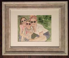 Custom Family watercolor portrait Watercolor Portraits, Watercolor Paper, Watercolor Paintings, Pastel Artwork, Creative Artwork, Painting Frames, Etsy Shop, Gallery, Creative Art