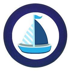 "Traum Kind Türknauf Möbelknopf Möbelgriff Möbelknauf Jungen hellblau dunkelblau blau Massivholz Buche - Kinder Kinderzimmer ""Segelboot Boot Schiff blau dunkelblau weiß gestreift maritim"" - 35x30 mm dunkelblau"