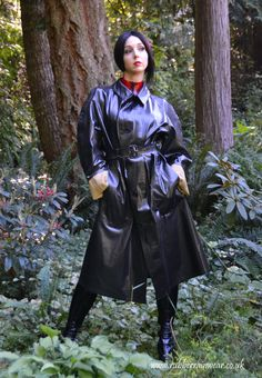 Fancy a peak under this hot babe's Rubber Rainwear? Find more on our website! Black Raincoat, Pvc Raincoat, Raincoat Jacket, Plastic Raincoat, Rubber Catsuit, Shiny Days, Rubber Raincoats, Raincoats For Women, Rain Wear