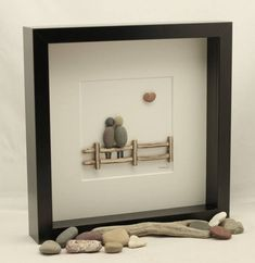 Pebble art picture Couple sat on a fence Valentine's