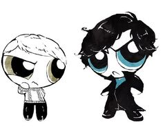 Powerpufflock -- I find this hilarious and endlessly cute / BBC Sherlock Holmes / John Watson / Powerpuff Girls / fanart / fan art Sherlock Cumberbatch, Sherlock 3, Sherlock Holmes, Benedict Cumberbatch, Moriarty, Benedict And Martin, Sherlolly, Johnlock, Geek Out