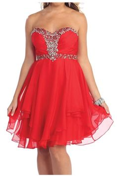 Red formal dresses, homecoming dresses, party dresses, short prom dresses, sweetheart, strapless, beaded