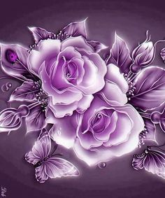 Flower Diamond Painting Kits have a huge selection of flowers like Roses, Carnations, Sunflowers, Hydrangea and many, many more. Art Floral, Diy Flowers, Purple Flowers, Wallpaper Fofos, Fleurs Diy, Lavender Roses, Butterfly Wallpaper, Purple Roses Wallpaper, Crystal Rose