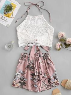 ZAFUL Lace Panel Floral Halter Two Pieces Suit Chic High Waist Sleeveless Women's Sets Vintage Pullover Crop Top And Shorts 2019 Source by Cute Summer Outfits, Cute Casual Outfits, Casual Dresses, Teen Dresses, Midi Dresses, Club Dresses, Winter Outfits, Teen Fashion Outfits, Outfits For Teens