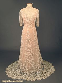 "IRISH CROCHET TEA GOWN, c. 1910 - 1-piece trained high neck gown, back closure, short puff sleeve, B 34"", W 27"", L 68""-71"", (back hooks & eyes missing) excellent."