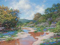 Secluded Stream by Larry Dyke - Larry Dyke is a master landscape painter.  This extraordinary, miniature gem is one that highlights the artist's immense talent.  Featuring such a stunning vista of the beautiful stream, this masterwork has all the Dyke hallmarks.