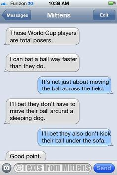 NEW Daily Mittens: The World Cup Edition  More Mittens: http://textsfrommittens.com/