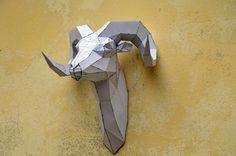 Make your own Rams Head Sculpture.   papercraft   Digital Download   ram sculpture   animal sculpture   origami   paper decorations