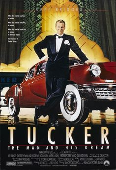Tucker: The Man and His Dream is a 1988 American biographical comedy-drama film directed by Francis Ford Coppola and starring Jeff Bridges. The film recounts the story of Preston Tucker and his attempt to produce and market the 1948 Tucker Sedan Cinema Tv, Films Cinema, Cinema Posters, Car Posters, Classic Movies, Classic Cars, Tucker Automobile, Preston Tucker, Elias Koteas