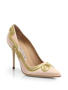 Manolo Blahnik - Leather Scroll Satin Pumps
