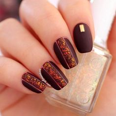 """This matte nail design is to dye for! Products used: Essie in """"Shearling Darling"""" and """"Shine of the Times"""".35 Cool Nail Designs to Try This Fall"""