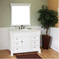 Bath> Vanities: 50 in Single sink vanity-wood-white