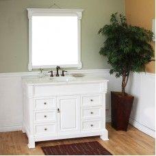 Bath> Vanities: 50 in Single sink vanity-wood-white