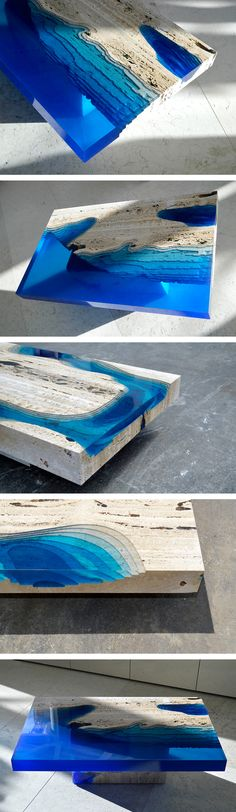 Cut Travertine Marble and Resin Merge to Create 'Lagoon' Tables Resin Furniture, Resin Table, Wood Table, Diy Table, Resin Casting, Futuristic Interior, New Interior Design, Travertine, Diy Wood
