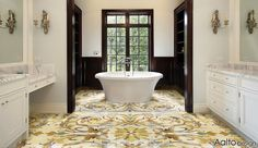 Take a classically inspired marble medallion design and repeat it as an all-over pattern; absolutely modern!