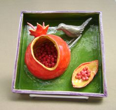 Pomegranate and Verdin Ceramic Sculpted by RobinChladDesigns, $69.00