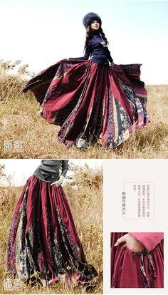 Широкая хлопковая юбка в стиле этно в красном, купить за 7890 руб.   юбки   bohoqueen: интернет-магазин одежды Артка в стиле бохо