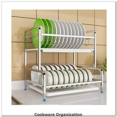 Kitchen Stainless Steel 2-Tier Dish Drainer Rack HolderCutlery Organization Holder With Drip TrayPot Lid Rack, Cutting Board Rack, Anti-slip Feet Design (Size : *2)*** You can get additional details at the image link.(It is Amazon affiliate link) #cookwareorganization