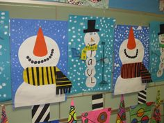 """""""Happy It's Snowing"""", perspective paper collage, gr. 1"""
