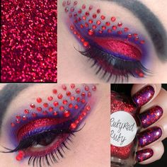 Red gems enhance vibrant red and purple eye shadow by 'Stacey'. Sfx Makeup, Eye Makeup Tips, Kiss Makeup, Makeup Art, Beauty Makeup, Hair Makeup, Makeup Ideas, Jewel Makeup, Crystal Tattoo