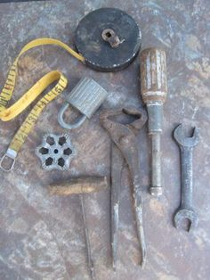 Instant Collection... Vintage Lot of Hand tools tape measure pad lock wrenches 1950s by countrybarn for $12.00 #zibbet #rustic #industrial #junk
