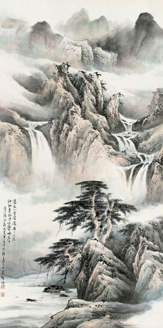 Asian Landscape, Chinese Landscape Painting, Japanese Landscape, Chinese Painting, Landscape Paintings, Japan Painting, Ink Painting, Chinese Mountains, Waterfall Paintings