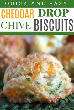 A quick and easy, buttery drop biscuit featuring a made-from-scratch biscuit dough, cheddar cheese, and fresh chives. Makes for a lovely brunch item, but also a great dinnertime side dish. Easy Cake Recipes, Dip Recipes, Side Dish Recipes, Party Recipes, Recipies, Cheese Biscuits, Cheddar Cheese, Cheese Bread, Easy Drop Biscuits