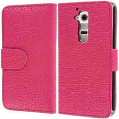 myLife Hot Pink {Classic Design} Faux Leather (Multipurpose - Card, Cash and ID Holder + Magnetic Closing) Folio Slimfold Wallet for the LG ...