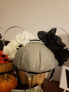 Honoring Ms Deville with black & white roses and bangle bracket ears . Disney Halloween Ears, Disney Ears, Black And White Roses, Cruella Deville, Wearing A Hat, Glue Crafts, Hand Sewing, Etsy Seller, Creative