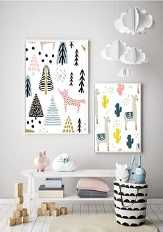 SCANDI llama PRINT modern kids art Scandinavian style bedroom print A3 mint pink black white mono tribal kids prints #kidsroom #nursery #nurserydecor #babyroom #wallart #scandi #ad