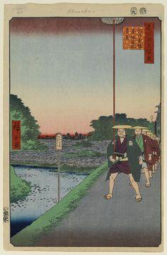 Hiroshige - One Hundred Famous Views of Edo Autumn 85 Kinokuni Hill and Distant View of Akasaka and the Tameike Pond (紀ノ国坂赤坂溜池遠景 Kinokunizaka Akasaka Tameike enkei?)outer Benkeibori moat of Edo CastlePeople depicted are samurai1857 / 9Akasaka, Minato