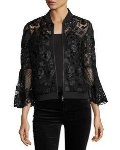 KOBI HALPERIN Kali Bell-Sleeve Lace Bomber Jacket, Black. #kobihalperin #cloth #