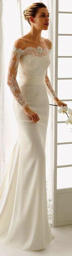 Rosa Clara 2016 bridal collection off the shoulder long sleeves white sheath wedding dress dado