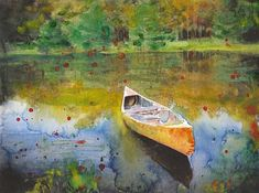 Lake View And Boat Fine Art Watercolor Painting Fine Art Print Reproduction