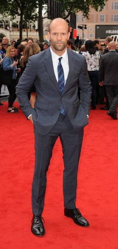 British actor Jason Statham wearing Burberry tailoring on the red carpet at the premiere of 'Spy' in London last night