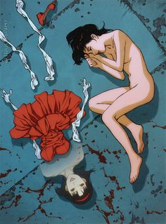Rare promotional art work for the film Perfect Blue, illustrated by director Satoshi Kon (今敏) and featured in the art book Kon's Works 1982-2010 (Amazon US | JP).