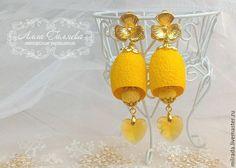 Купить Серьги из коконов шелкопряда желтые - желтый, серьги, серьги ручной работы, кокон